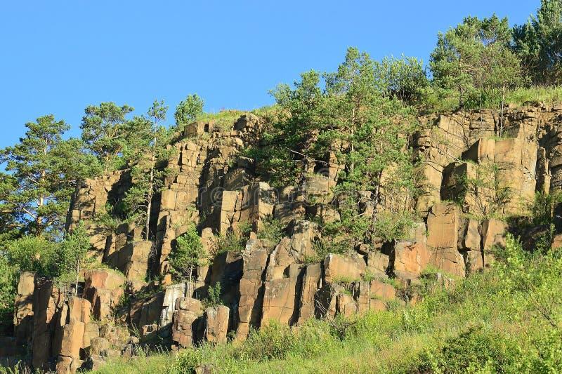 De pijnboombomen die op dolerite rotsen groeiden Een kracht van aard Oostelijk Siberië stock foto