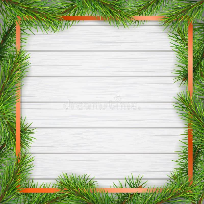 De pijnboomboom vertakt zich vierkant kader op witte houten achtergrond vector illustratie
