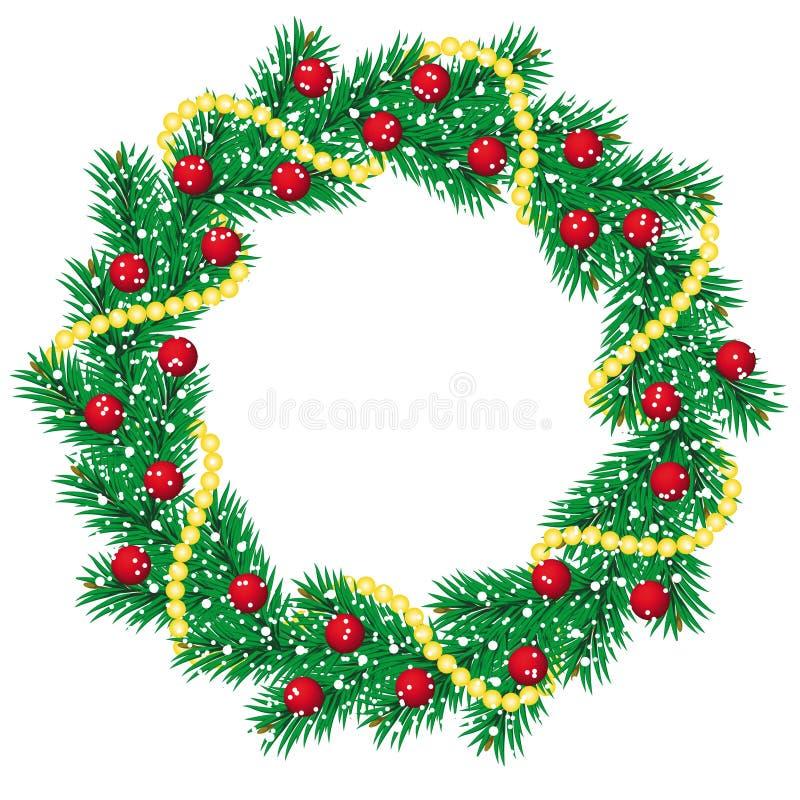 De pijnboomslinger van Kerstmis stock illustratie
