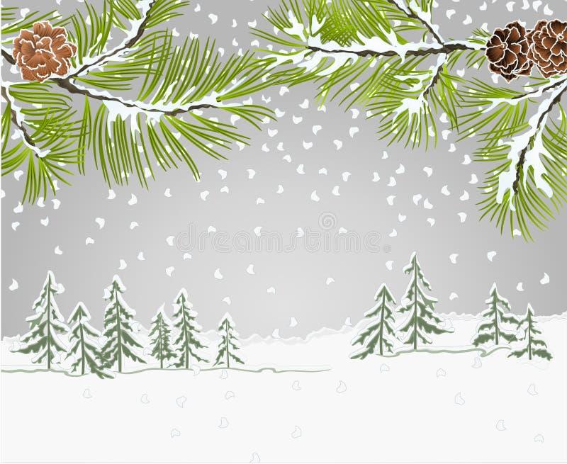 De de pijnboomtakken van het de winterlandschap met sneeuw en denneappelskerstmis als thema hebben en Nieuwjaar uitstekende vecto vector illustratie