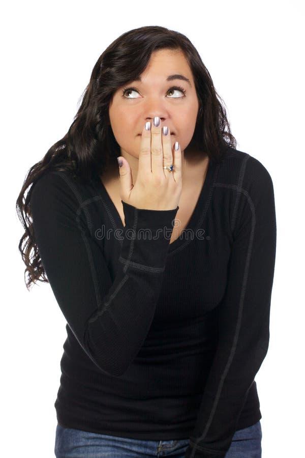 De Pijnlijke Blik van de tiener stock foto