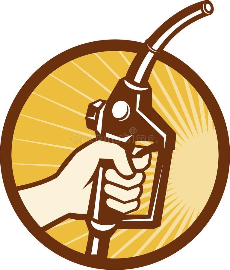 De Pijp van de Pomp van de Brandstof van het Gas van de Holding van de hand vector illustratie