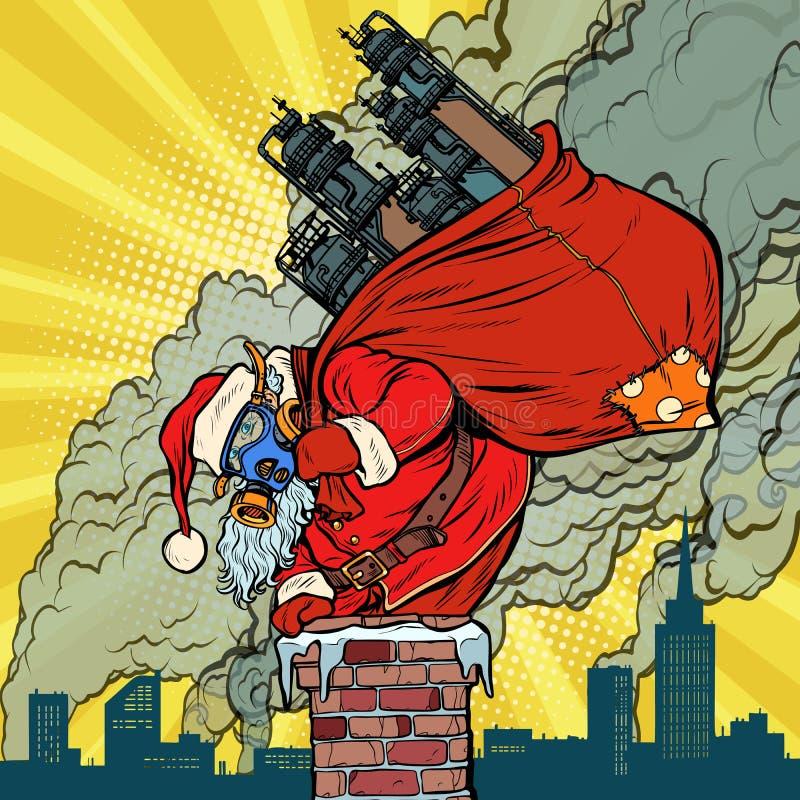 De pijp van de ecologiefabriek, het vuile masker van het luchtgezicht De Kerstman met gift vector illustratie