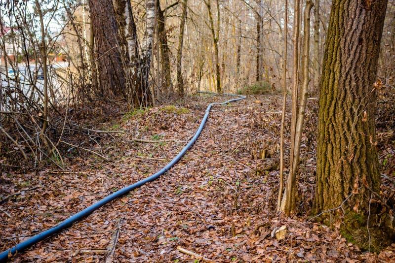 De pijp voor het leggen van de kabel van mededeling onder de grond royalty-vrije stock foto
