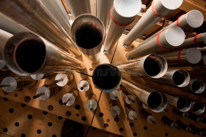 De pijpen van het orgaan stock fotografie