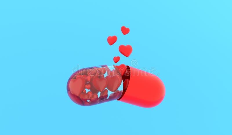 De Pil van de liefde Liefdetablet ?apsule met harten wordt opgelost op blauwe achtergrond het 3d teruggeven royalty-vrije illustratie