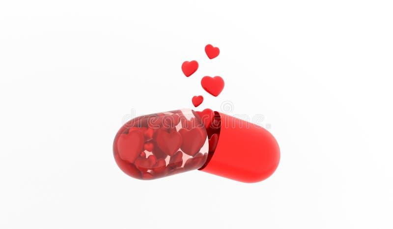De Pil van de liefde Liefdetablet ?apsule met harten wordt opgelost op witte achtergrond het 3d teruggeven vector illustratie