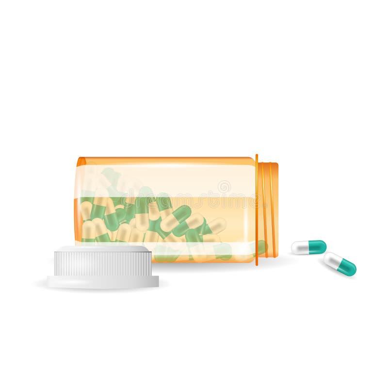 De pillen morsen uit een fles Realistische vectorillustratie Tabletten in een fles op de witte achtergrond wordt geïsoleerd die royalty-vrije illustratie
