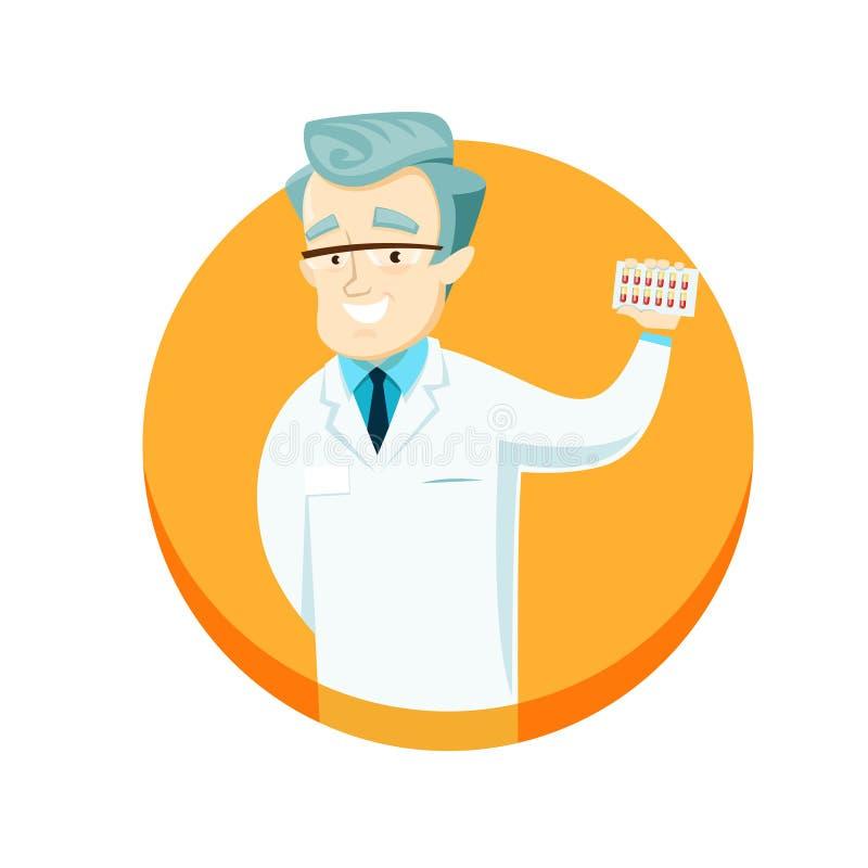 De pillen van de artsenholding in hun handen, die hen adverteren royalty-vrije illustratie
