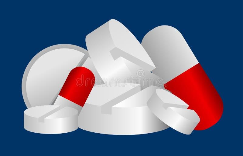 De pillen van de apotheek royalty-vrije illustratie