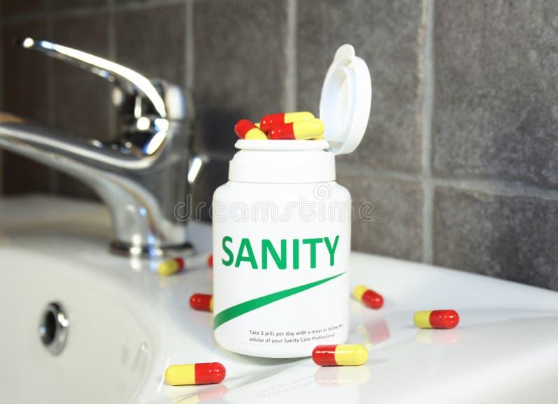 De pillen van de geestelijke gezondheid in een fles royalty-vrije stock afbeeldingen