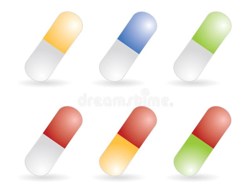 De pillen van de kleur vector illustratie