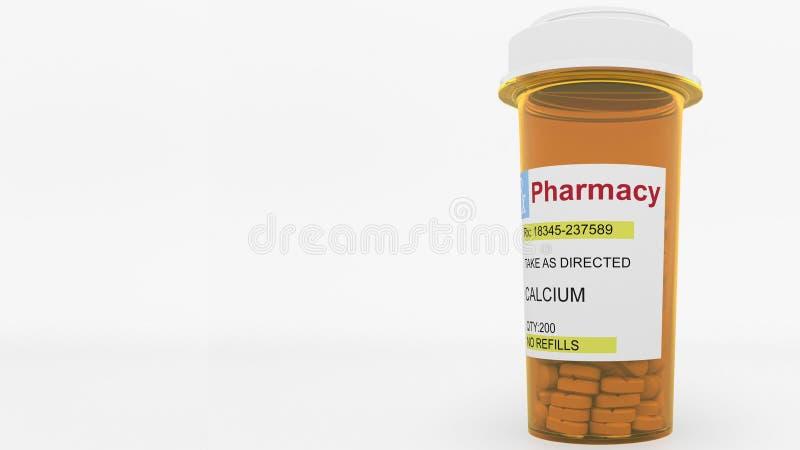 De pillen van het CALCIUMgenerische geneesmiddel in een voorschriftfles Het conceptuele 3d teruggeven stock illustratie