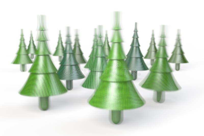 De pinbovenkanten van de Kerstmisboom, rotatiebovenkanten, draaimolennen vector illustratie