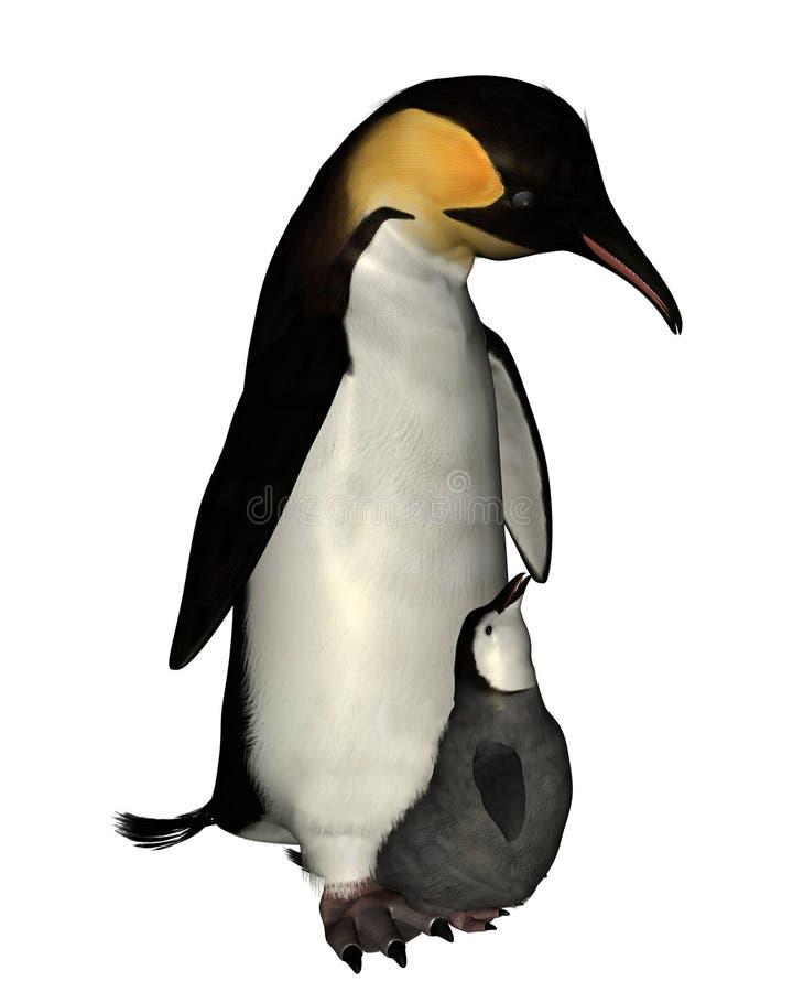 De Pinguïn van de keizer met Kuiken vector illustratie