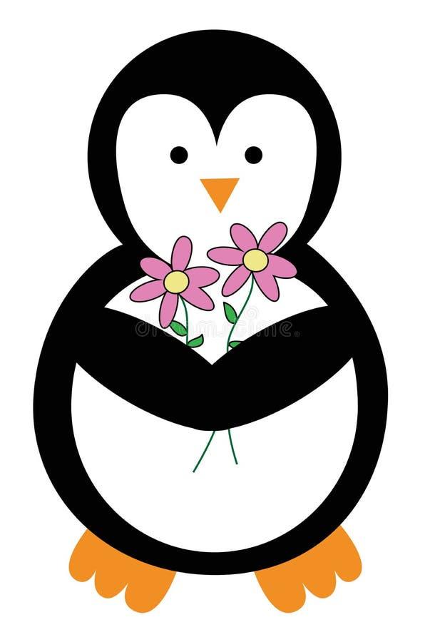 De Pinguïn van de valentijnskaartendag met Bloemen stock illustratie