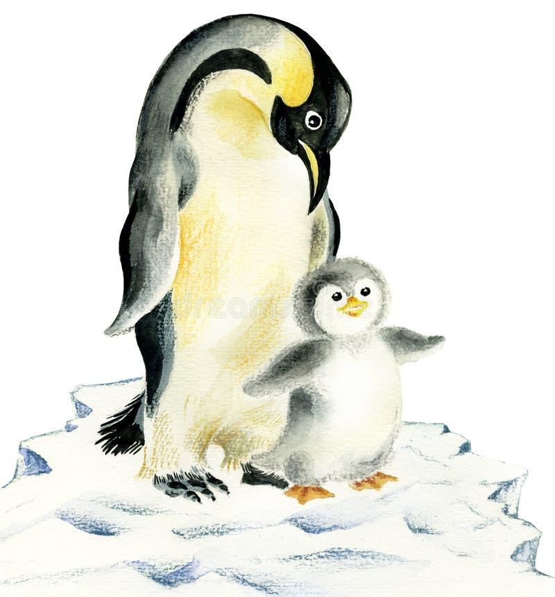 De pinguïnen van de moeder en van de baby vector illustratie