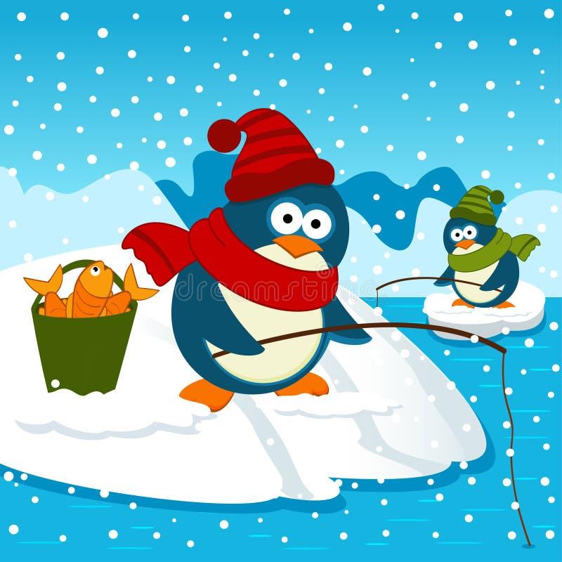 De pinguïnen zijn bij de visserij vector illustratie