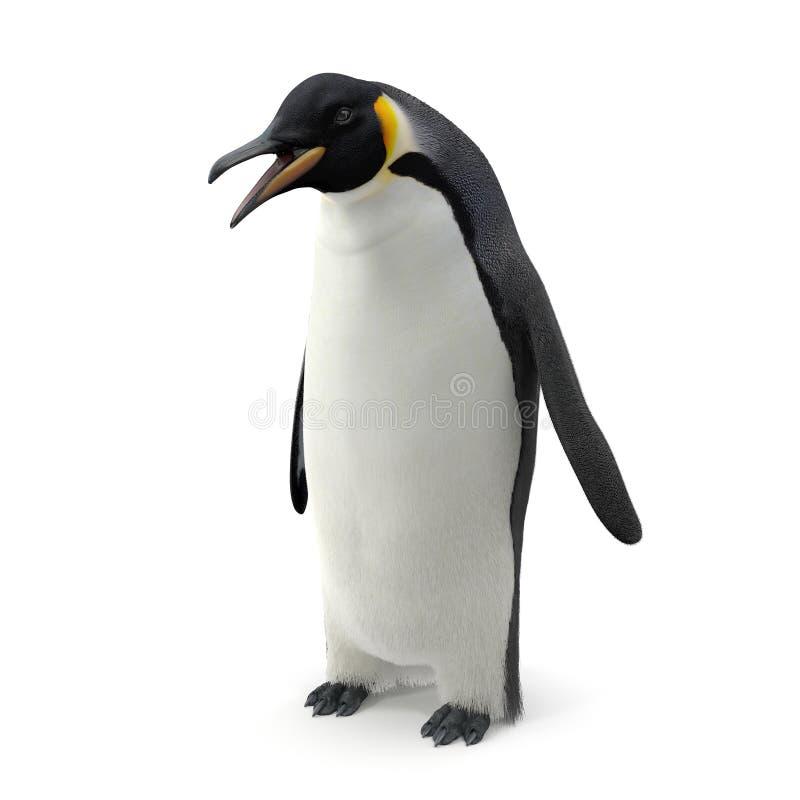 De pingu?n van de keizer Geïsoleerd op wit 3D Illustratie stock afbeelding
