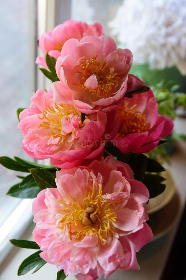 De pioenen van bloemen op een been binnen het restaurant voor een viering winkelen floristry of huwelijk stock foto