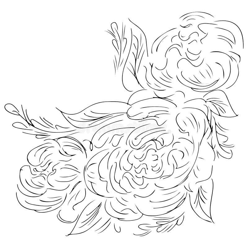 De pioenhand getrokken overzicht van de lijnkunst voor drukontwerp De vector isoleerde overzichtstekening Het patroon van de bloe vector illustratie
