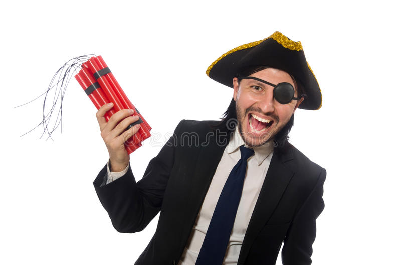 De piraat in de zwarte bom van de kostuumholding die op wit wordt geïsoleerd stock foto's