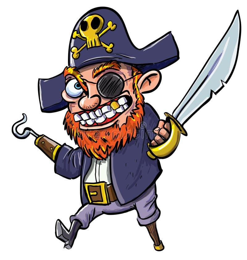 De piraat van het beeldverhaal met een haak en een machete stock illustratie