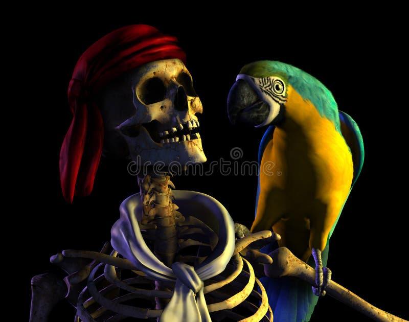 De Piraat van het skelet - met het knippen van weg vector illustratie