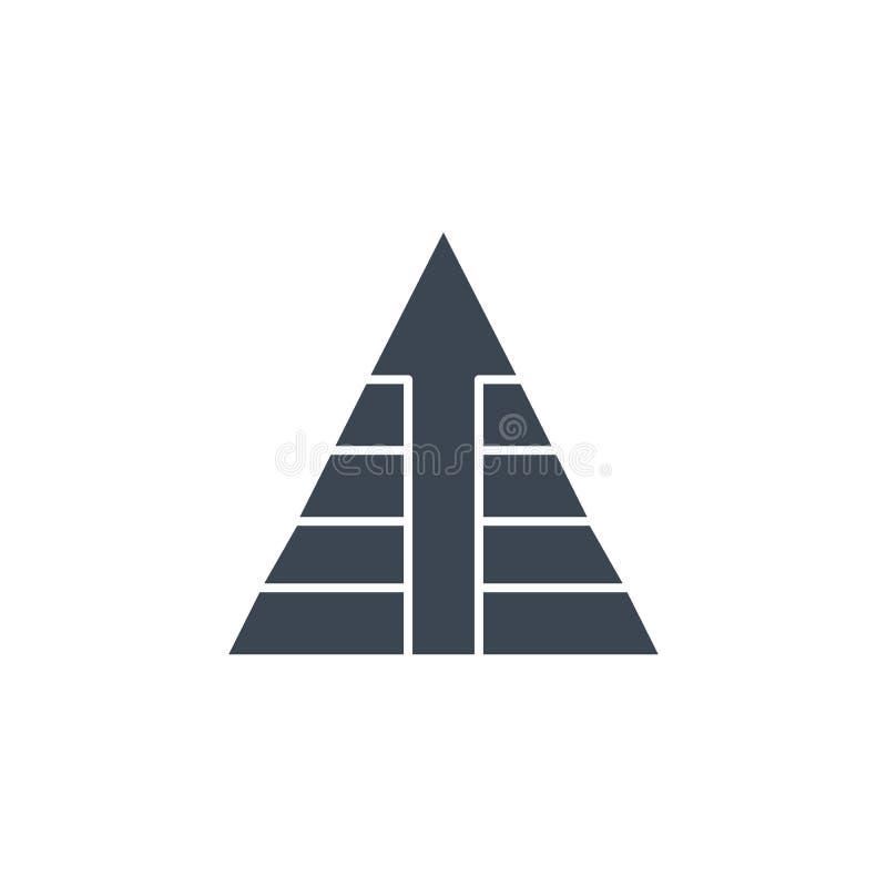 De piramide met Pijl bracht vector glyph pictogram met elkaar in verband royalty-vrije illustratie