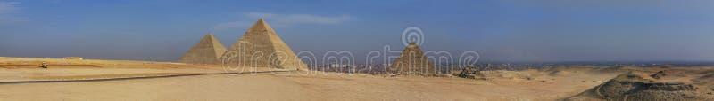 De piramide van Egypte van het panorama stock foto's