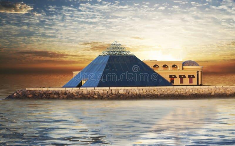 De Piramide van het glas royalty-vrije stock foto's