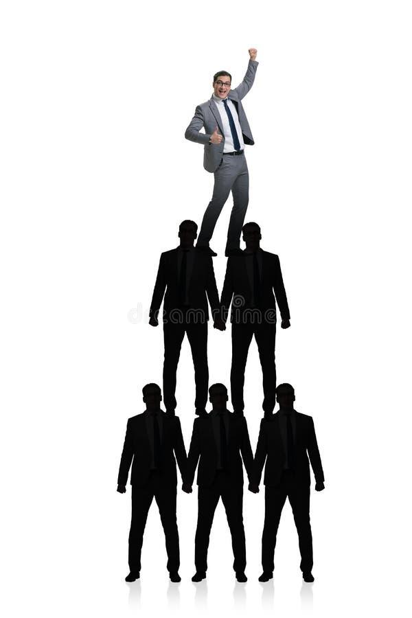 De piramide van zakenlieden in bedrijfsconcept royalty-vrije illustratie