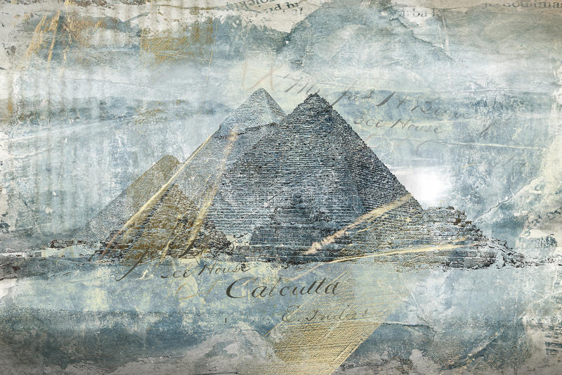 De piramides van het luxe gouden-blauw Het digitale kunst abstracte schilderen royalty-vrije stock afbeelding