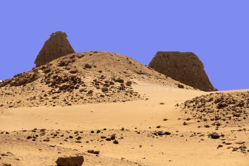 De piramides van Nuri dichtbij de Nijl in de Soedan, Afrika stock foto