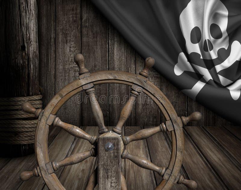 De piraten verschepen dek met stuurwiel en vlag stock afbeelding