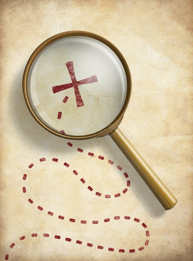 De piraten waarderen oude kaart met duidelijke plaats en stock illustratie