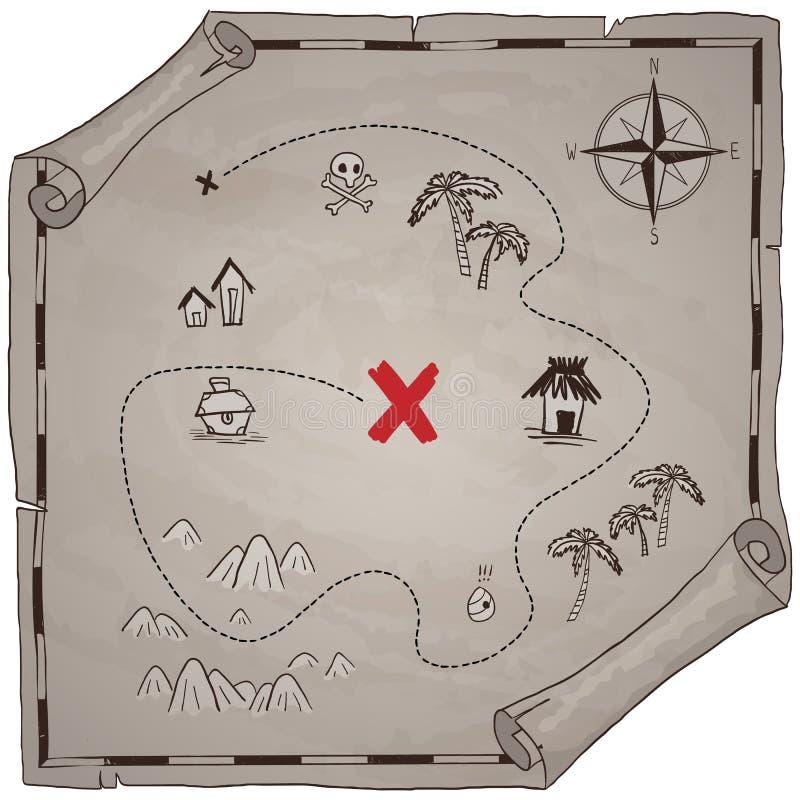 De piraten waarderen zwarte inkt van het kaart de hand getrokken beeldverhaal op oude document textuur, palmen bij de manieronder stock illustratie