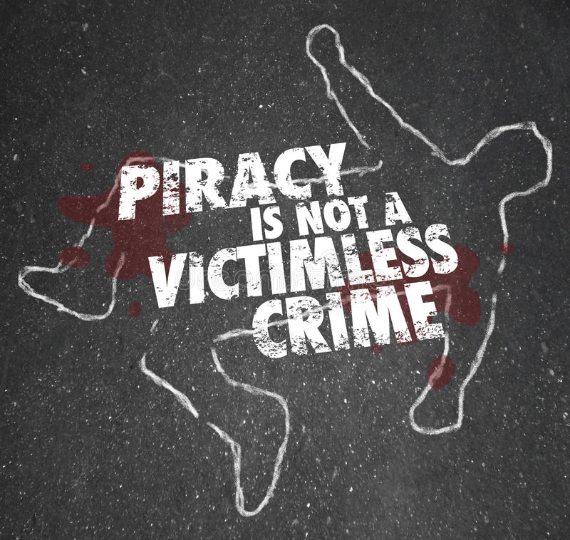 De piraterij is geen Overzicht Zonder slachtoffers Copyright Violati van het Misdaadkrijt royalty-vrije illustratie