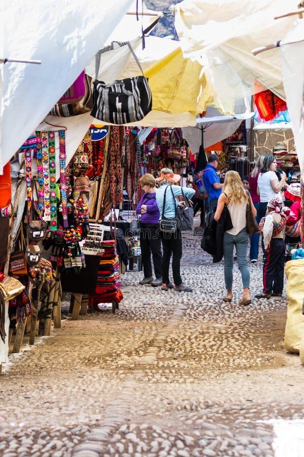 De Pisac-Markt in Peru stock fotografie