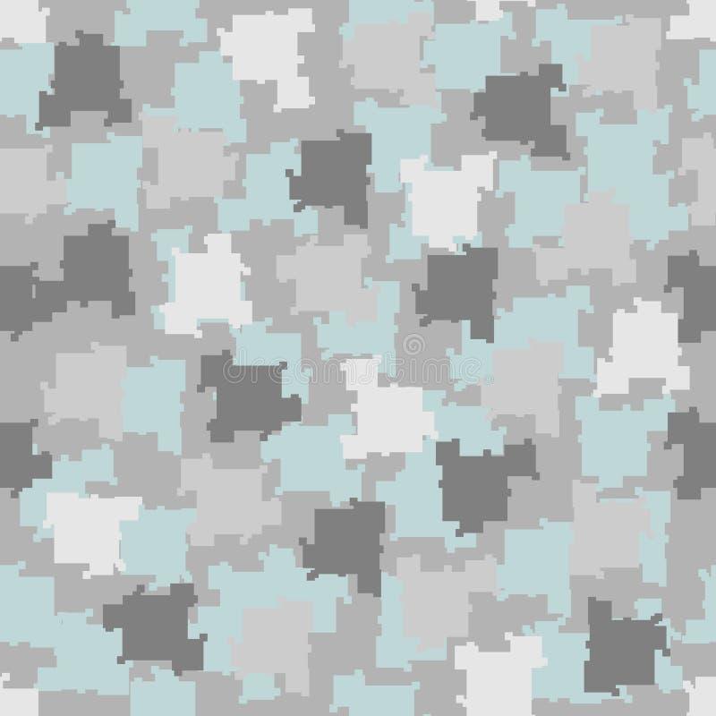 De pixel van de camouflagewinter blauw en grijs naadloos patroon als achtergrond royalty-vrije illustratie