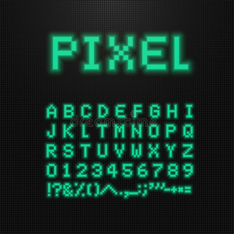 De pixeldoopvont, de vectorletters, de getallen en de tekens op oude computer leidden vertoning videospelletjelettersoort met 8 b vector illustratie