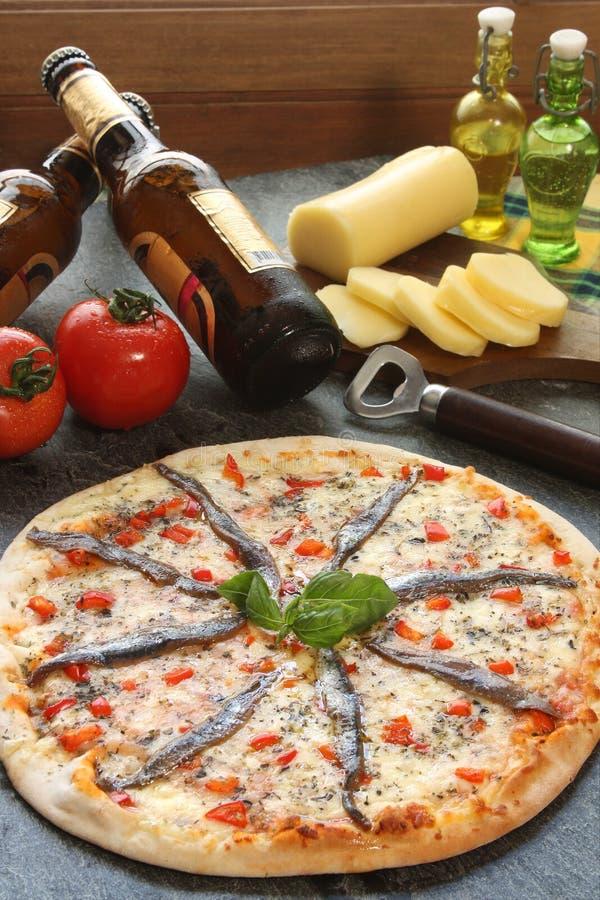 De pizza van ansjovissen royalty-vrije stock afbeelding