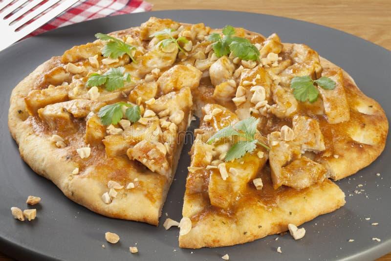 De Pizza van de Kip van Satay stock foto