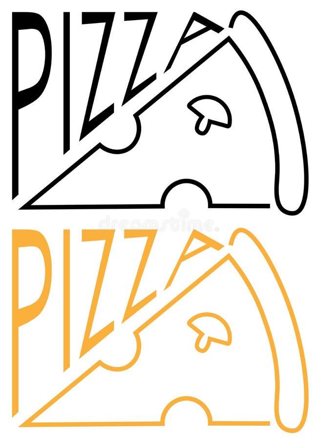 De pizza van de inschrijvingskoffie met een plak van het minimalistische embleem van de pizzatekst royalty-vrije illustratie