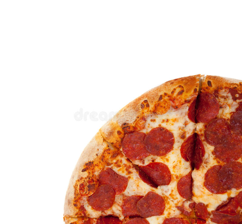 De pizza van pepperonis op wit royalty-vrije stock fotografie
