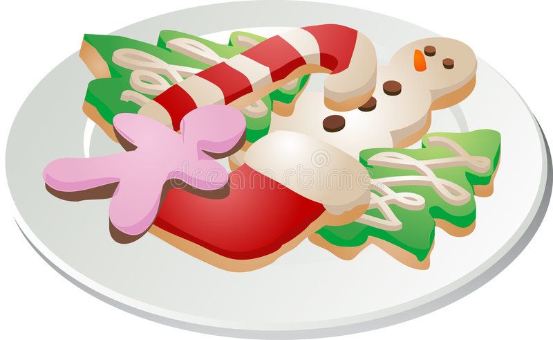 De plaat van de koekjesona van Kerstmis stock illustratie