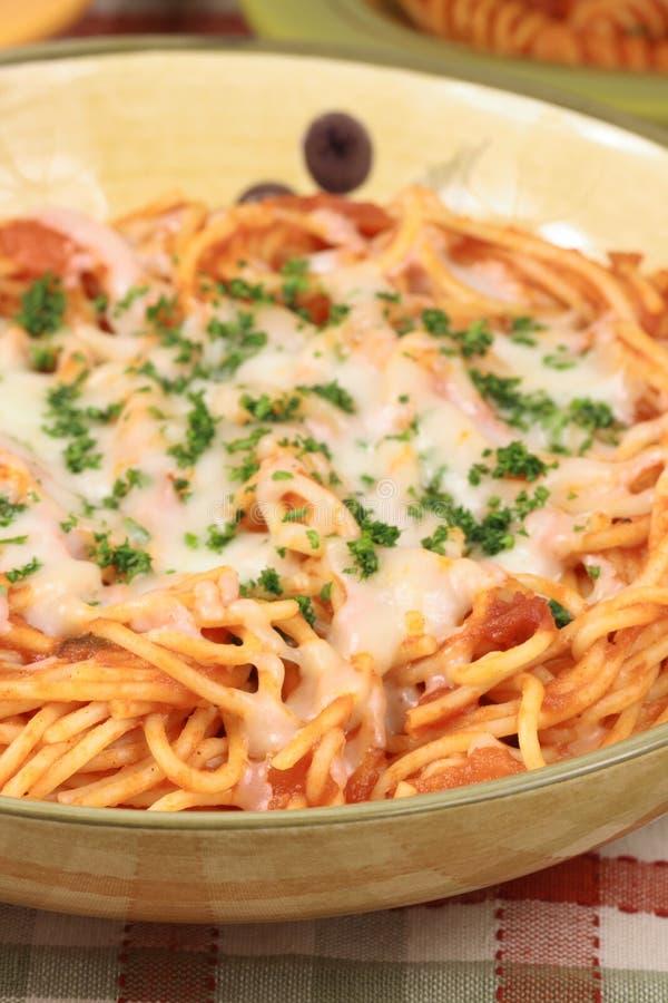 De plaat van de spaghetti royalty-vrije stock afbeeldingen