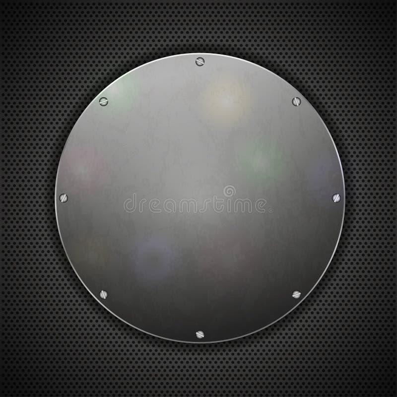 De plaat van het cirkelstaal op metaalachtergrond. vector illustratie