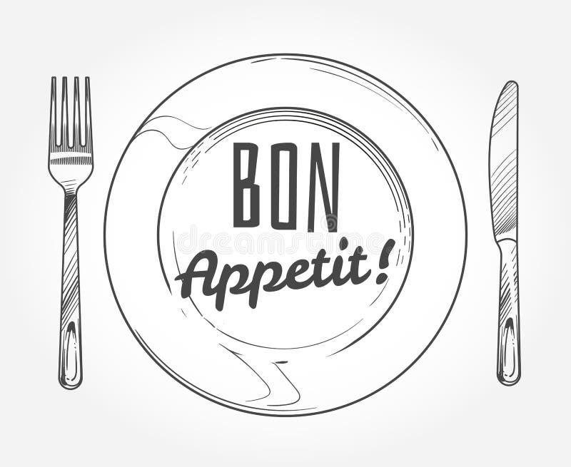 De plaat van het diner met mes en vork Het vaatwerk en de schotel van de krabbelschets Restaurant vectoraffiche vector illustratie