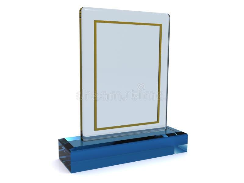 De plaat van het glas of toekenning stock afbeelding